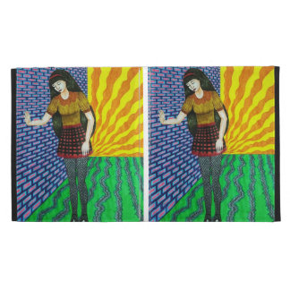 Girl Leaning On Brick Wall In Abstract Environment iPad Folio Case