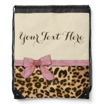 Girl Leopard Print Baby Pink Bow Drawstring Bag