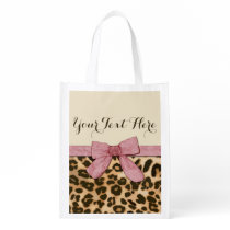 Girl Leopard Print Baby Pink Bow Grocery Bag
