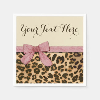 Girl Leopard Print Baby Pink Bow Paper Napkin