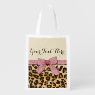 Girl Leopard Print Baby Pink Bow Reusable Grocery Bag