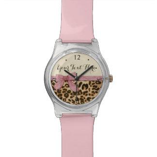 Girl Leopard Print Baby Pink Bow Wrist Watch