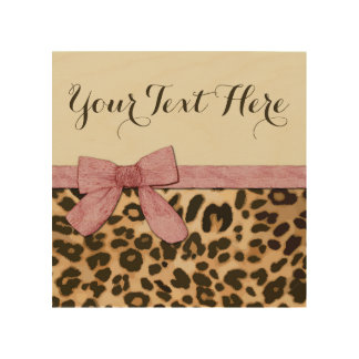 Girl Leopard Print Baby Pink Bow Wood Wall Art