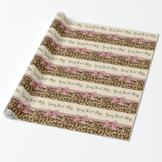 Girl Leopard Print Baby Pink Bow Gift Wrap