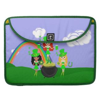 Girl Leprechauns Rainbow and Pot of Gold MacBook Pro Sleeve