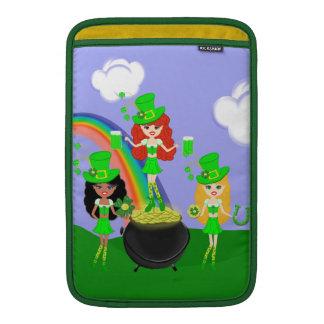 Girl Leprechauns Rainbow and Pot of Gold MacBook Sleeve