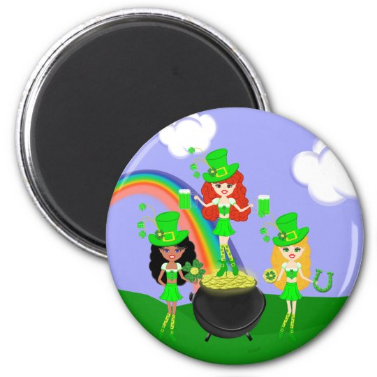 Girl Leprechauns Rainbow and Pot of Gold Magnet