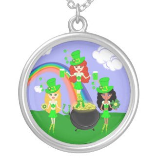 Girl Leprechauns Rainbow and Pot of Gold Round Pendant Necklace