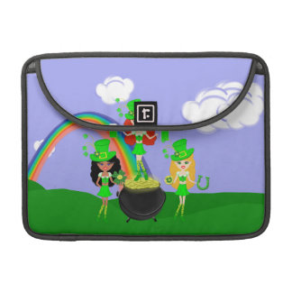 Girl Leprechauns Rainbow and Pot of Gold Sleeve For MacBooks