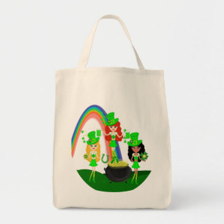 Girl Leprechauns Rainbow and Pot of Gold Tote Bag