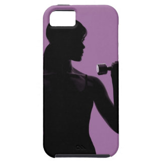 girl lifting dumbbell on purple background iPhone 5 covers