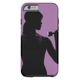 girl lifting dumbbell on purple background iPhone 6 case