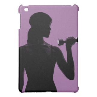 girl lifting dumbbell on purple background iPad mini cases