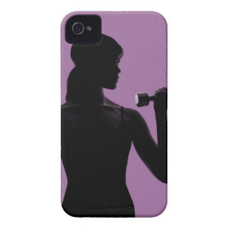 girl lifting dumbbell on purple background iPhone 4 Case-Mate case