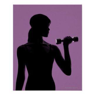 girl lifting dumbbell on purple background poster