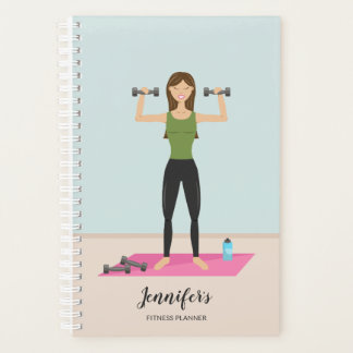 Girl Lifting Weights & Personalizable Name Fitness Planner
