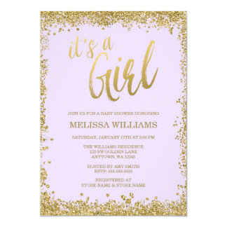 Girl Lilac Purple Faux Gold Glitter Baby Shower Card