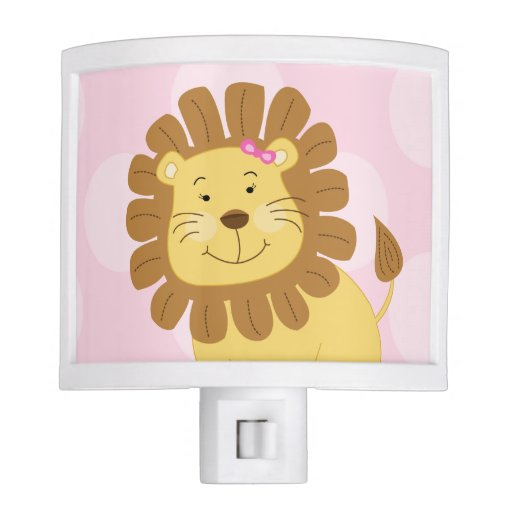 Girl Lion Jungle Theme Night Light (Pink)