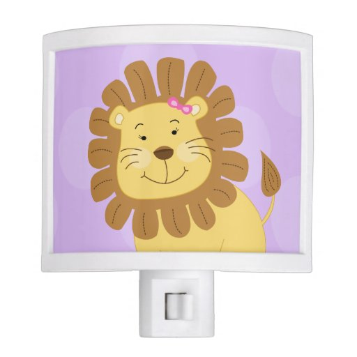 Girl Lion Jungle Theme Night Light (Purple)