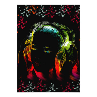 Girl Listening Music Headphones Neon Colors Gifts Card