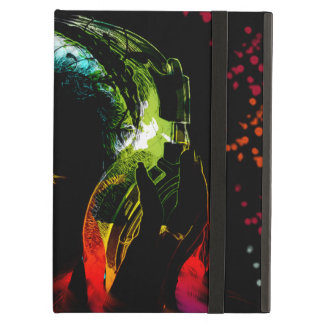 Girl Listening Music Headphones Neon Colors Gifts iPad Folio Cases