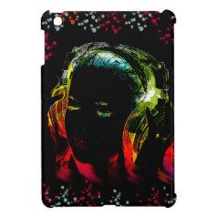 Girl Listening Music Headphones Neon Colors Gifts iPad Mini Cases