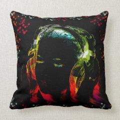 Girl Listening Music Headphones Neon Colors Gifts Throw Pillow