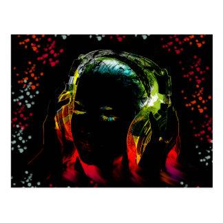 Girl Listening Music Headphones Neon Colors Gifts Postcard