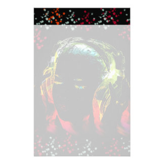 Girl Listening Music Headphones Neon Colors Gifts Stationery