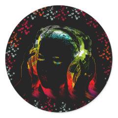 Girl Listening Music Headphones Neon Colors Gifts Round Sticker