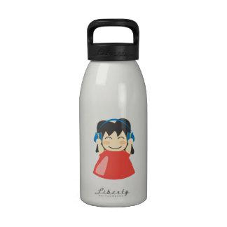 Girl Listening to Headphones Water Bottle