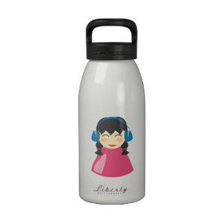 Girl Listening to Headphones Reusable Water Bottle
