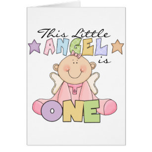 Little angel birthday cards greeting photo cards zazzle girl little angel 1st birthday tshirts and gifts card m4hsunfo