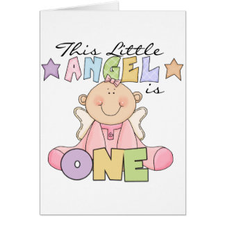 Girl Little Angel 1st Birthday Tshirts and Gifts Card
