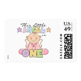 Girl Little Angel 1st Birthday Tshirts and Gifts Postage Stamp