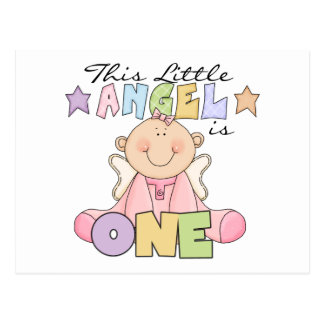 Girl Little Angel 1st Birthday Tshirts and Gifts Postcard