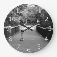 Girl Longboarder Large Clock