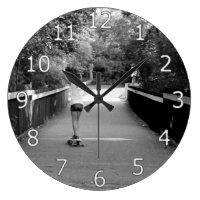 Girl Longboarder Large Clock