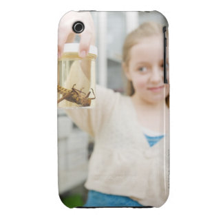Girl looking at insect in jar in classroom Case-Mate iPhone 3 case