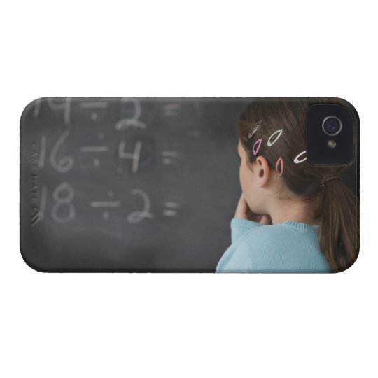 Girl looking at math equations on blackboard iPhone 4 cover