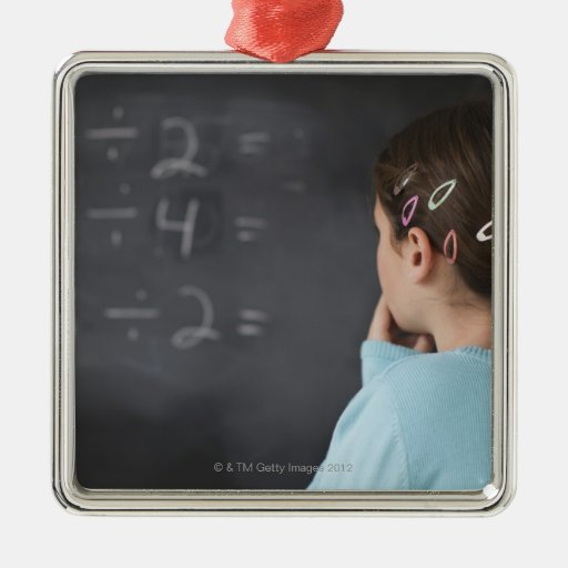 Girl looking at math equations on blackboard square metal christmas ornament