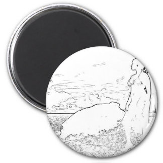Girl looking at the sea 2 inch round magnet