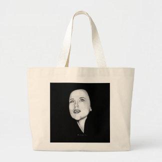 Girl looking forward large tote bag