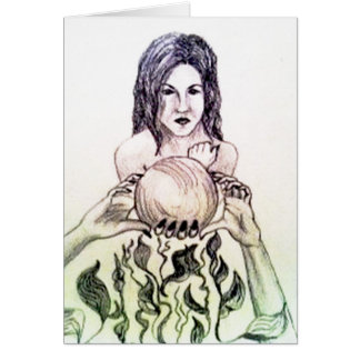 Girl looking into a crystal ball greeting card