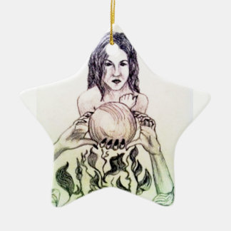 Girl looking into a crystal ball ceramic ornament