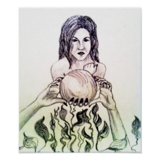 Girl looking into a crystal ball poster