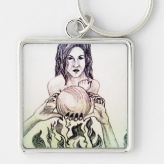 Girl looking into a crystal ball Silver-Colored square keychain