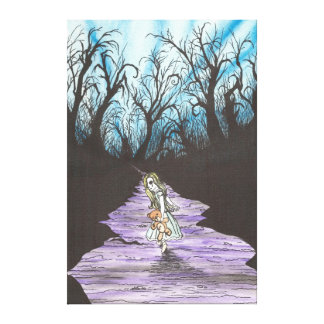 Girl Lost in Woods Gallery Wrapped Canvas