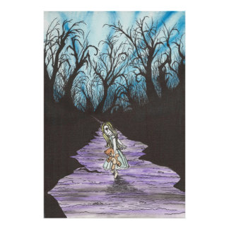 Girl Lost In Woods Poster