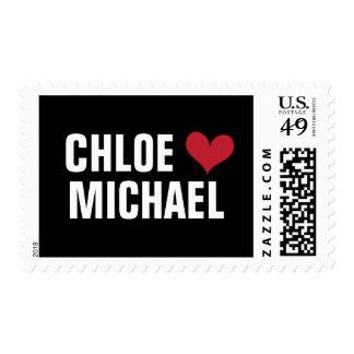 girl loves boy stamp - (red heart/black)